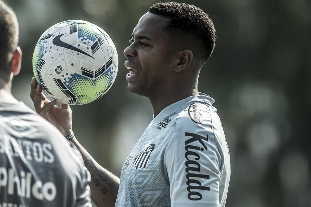 Robinho em treino no CT Rei Pelé — Foto: Ivan Storti/Santos FC
