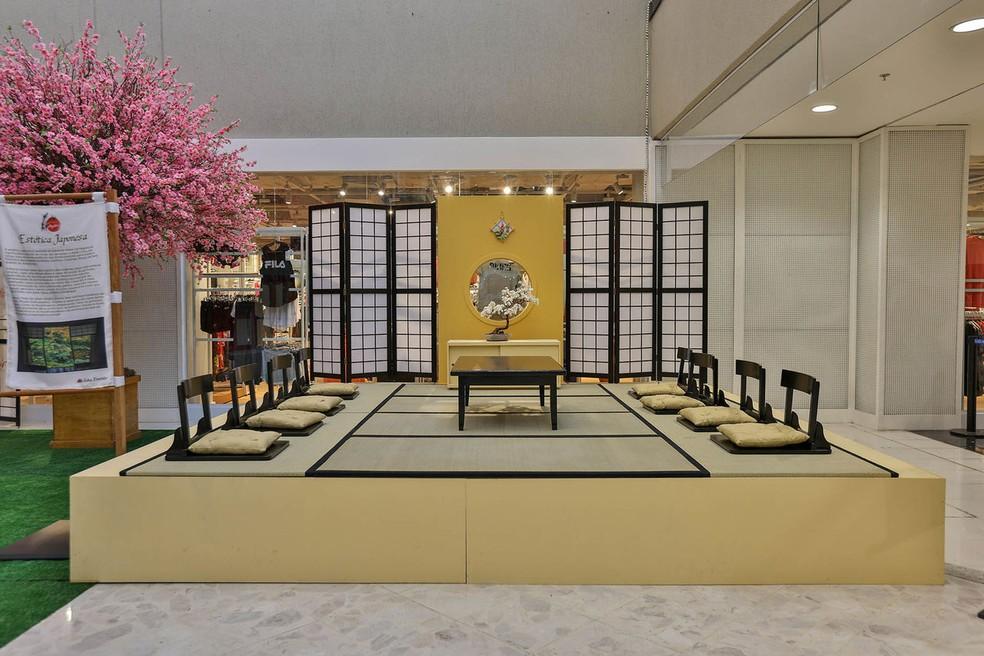 """Casa de chá Okya na exposição """"Tesouros do Japão"""", montada no Pátio Brasil Shopping, em Brasília — Foto: Tesouros do Japão/Divulgação"""