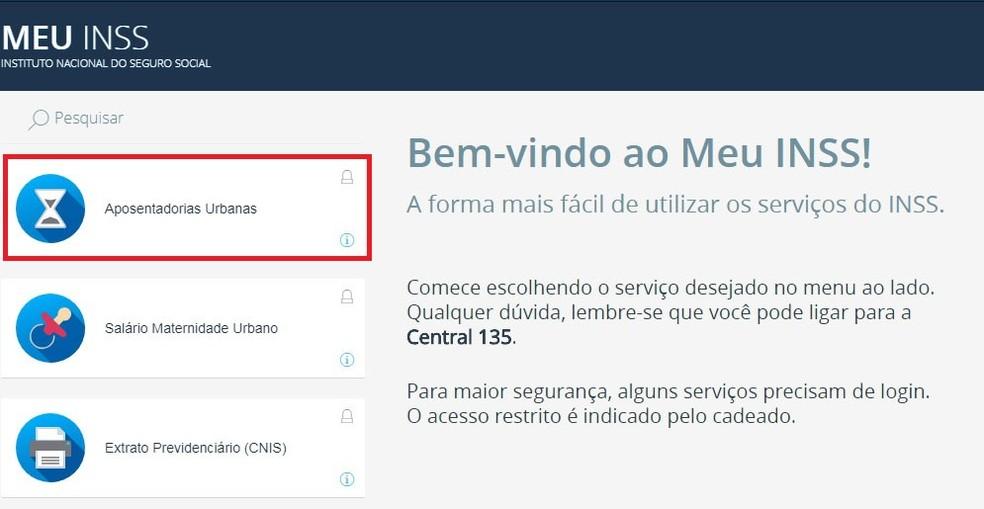 """Acesse """"aposentadorias urbanas"""", na página inicial do site Meu INSS (Foto: Reprodução/Meu INSS)"""