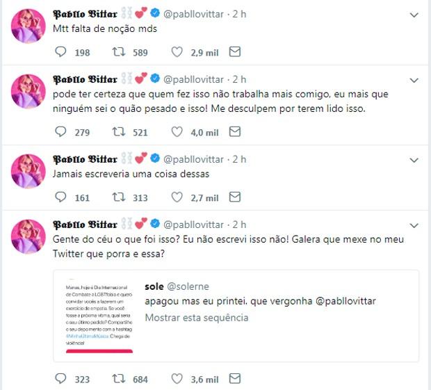 Respostas de Pabllo Vittar (Foto: Reprodução/Twitter)