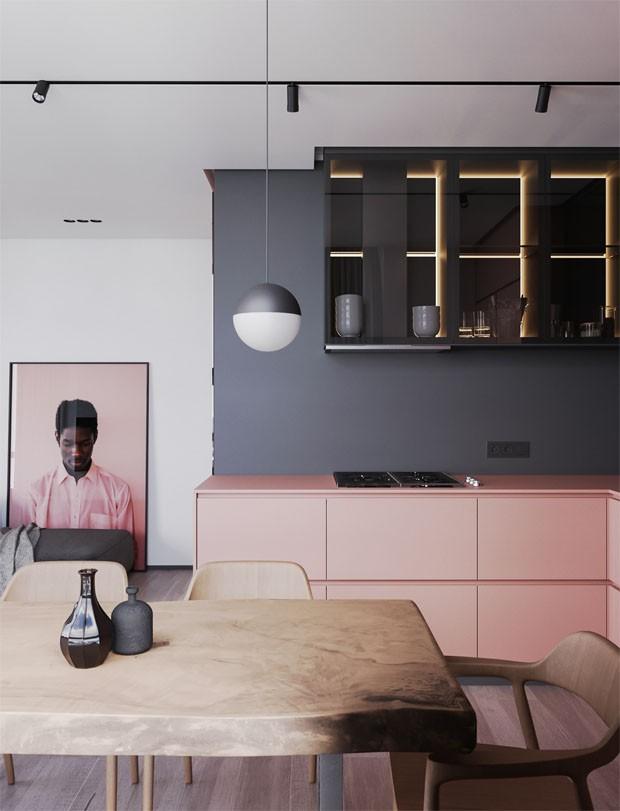 Décor do dia: cozinha minimalista combina preto, cinza e rosa (Foto: Divulgação)