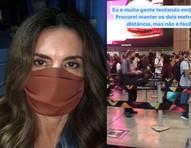 Fátima Bernardes enfrenta chuva e aeroporto cheio para viajar no feriadão