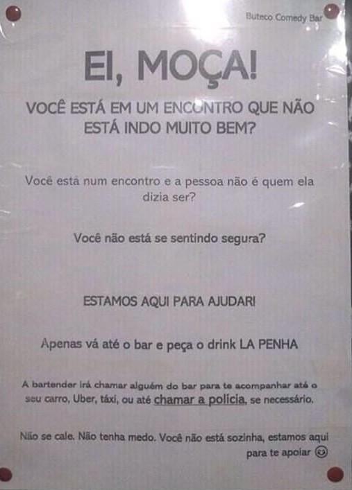 Aviso no banheiro feminino do bar La Penha
