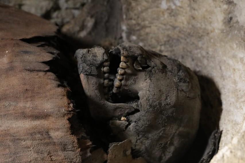Detalhe de uma das múmias encontradas por arqueólogos (Foto: Divulgação/Ministério de Antiguidades)