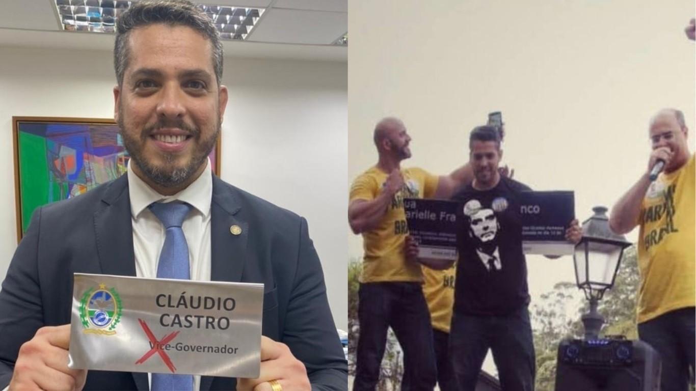 Rodrigo Amorim e a placa destruída de Marielle