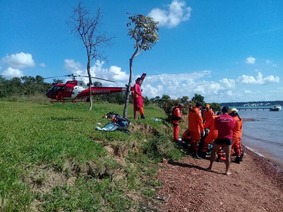 Mulher morre afogada no Lago Paranoá. — Foto: Corpo de Bombeiros do DF/Divulgação