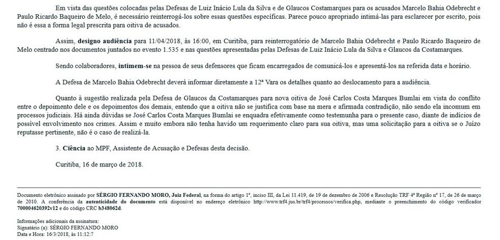 Juiz Sérgio Moro determinou reinterrogatório de Marcelo Odebrecht e de ex-executivo em 16 de março deste ano (Foto: JFPR/Reprodução)
