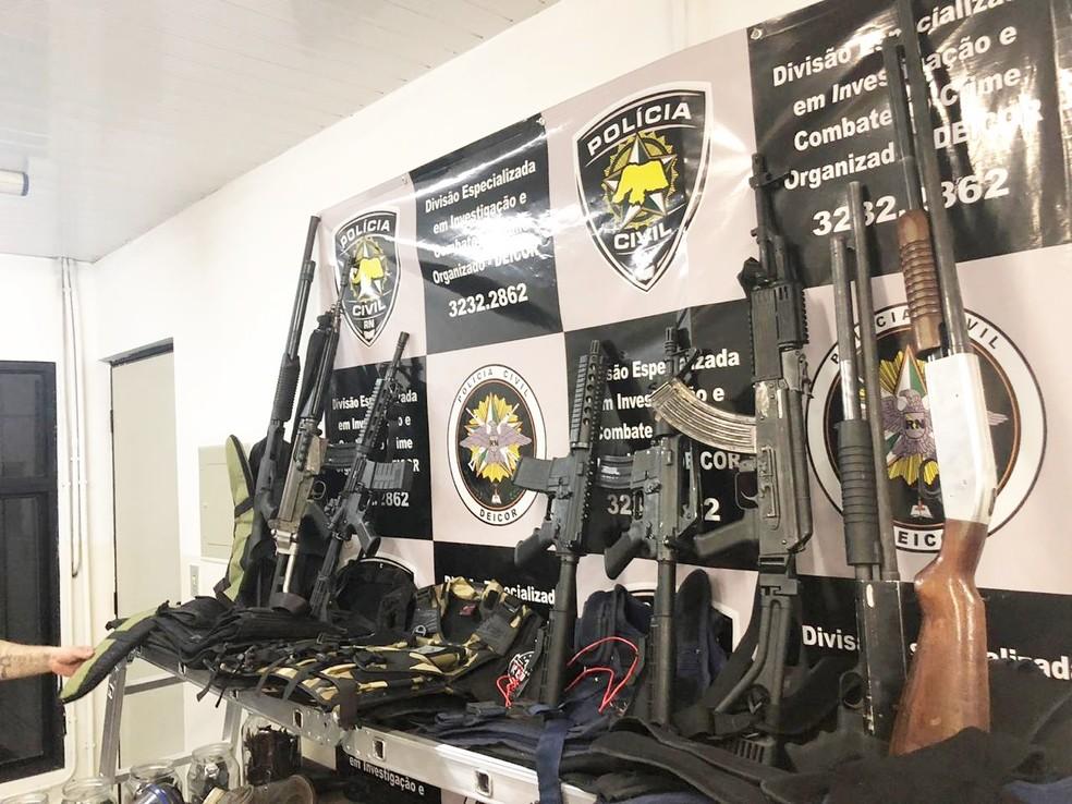 Arquivo: armas apreendidas na BR-406 no Rio Grande do Norte — Foto: Polícia Civil do RN/Divulgação