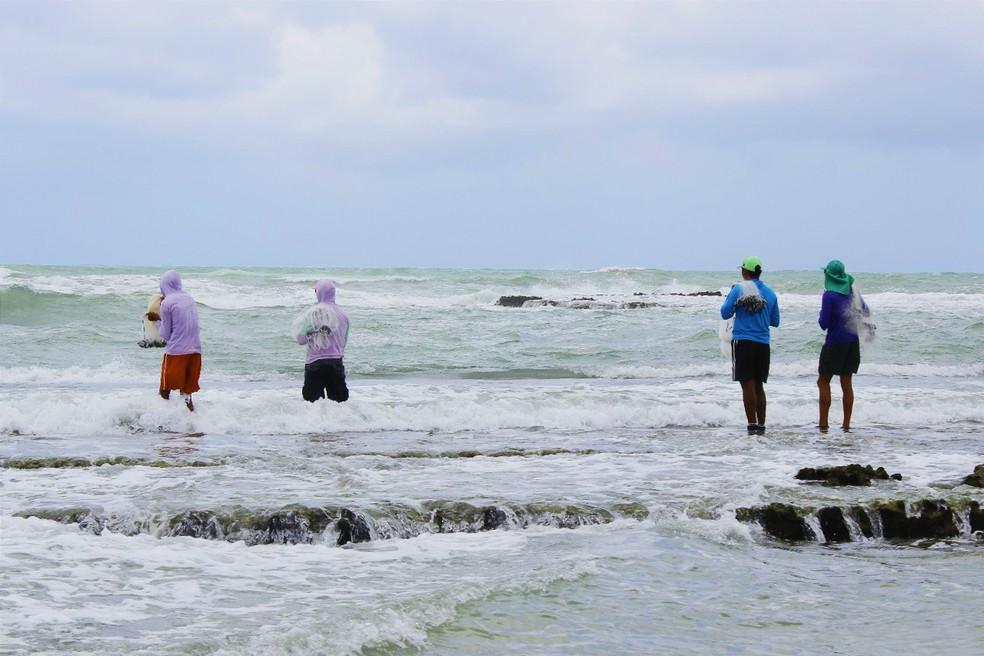 Pescadores na praia de Sibaúma, no litoral Sul potiguar  (Foto: Filipe Cordeiro )