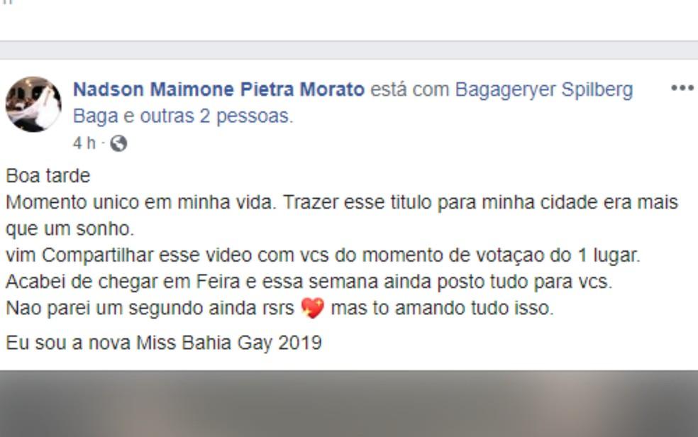 Em uma das redes sociais, Pietra comemorou a vitória e disse que era um sonho levar o título para Feira de Santana.  — Foto: Reprodução/Redes Sociais