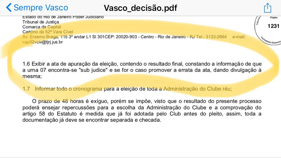 Trecho da decisão judicial sobre a eleição do Vasco (Foto: Reprodução)
