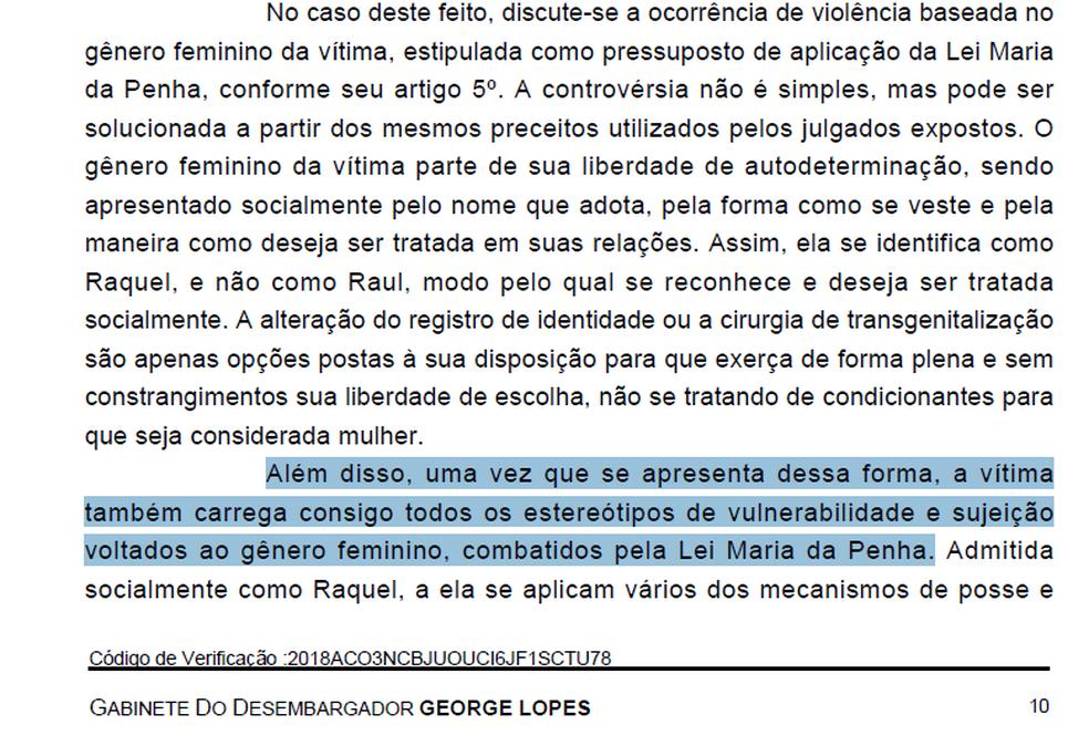 Trecho da decisão de desembargadores da 1ª Turma Criminal de Brasília (Foto: TJDFT/Reprodução)