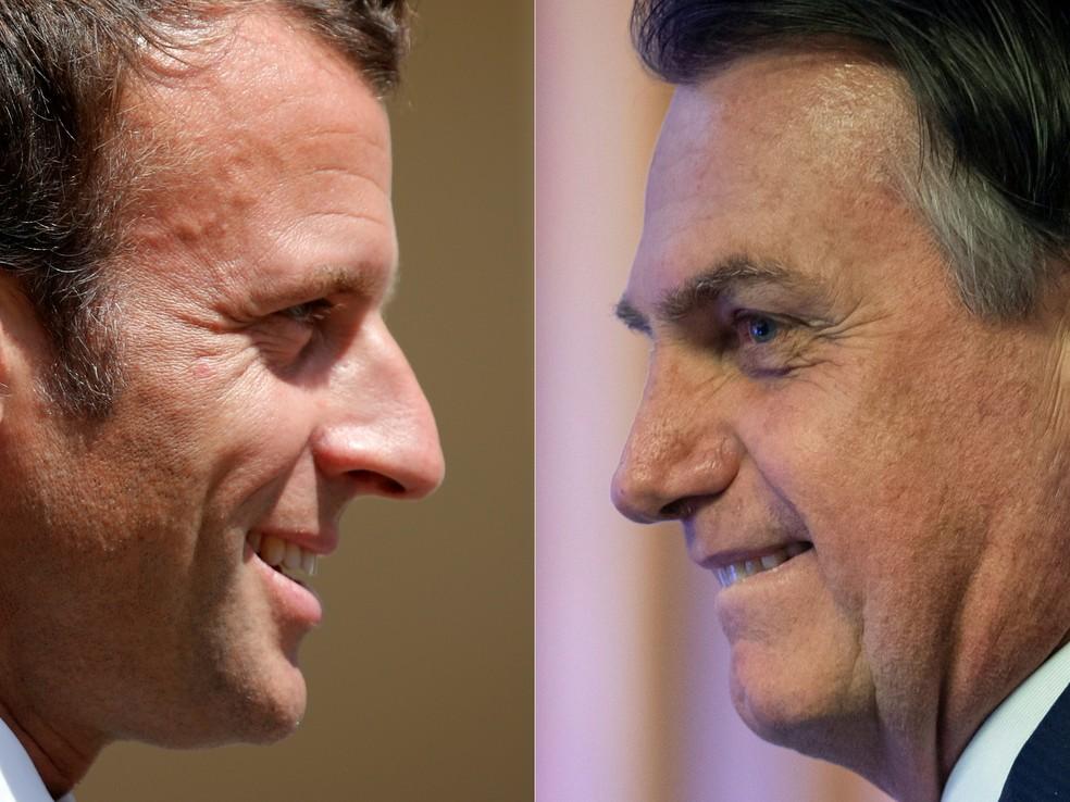 O presidente da França, Emmanuel Macron, e o presidente brasileiro, Jair Bolsonaro. — Foto: Charles Platiau, Mauro Pimentel/AFP/Pool