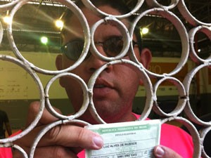 André Luiz Alves de Rezende, um dos presos no Maracanazinho por boca de urna (Foto: Lilian Quaino / G1)