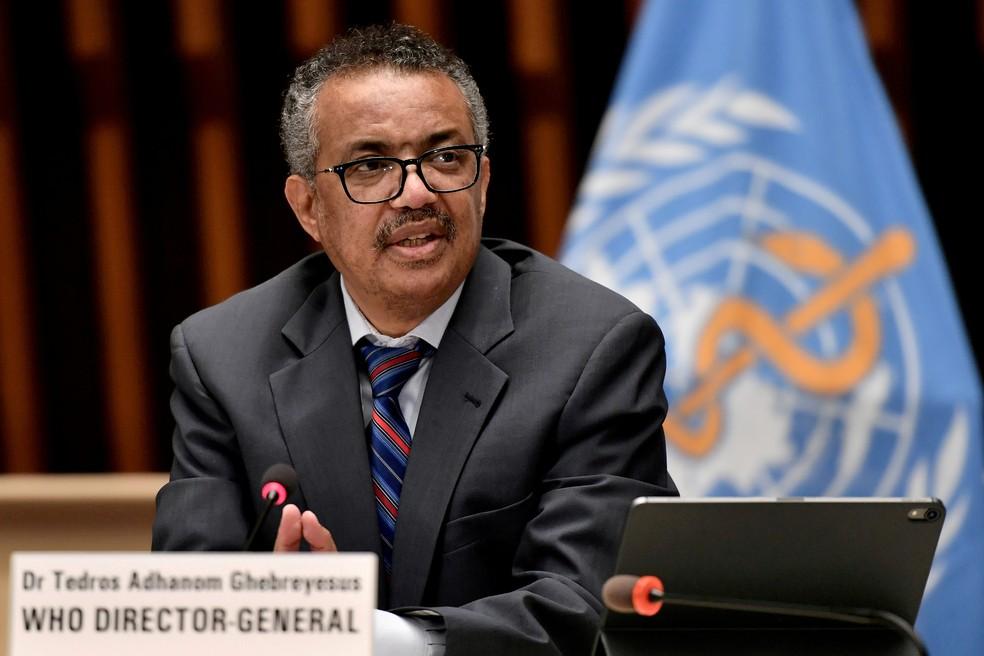 Tedros Adhanom Ghebreyesus, diretor-geral da OMS, em entrevista coletiva na sede da agência em foto de arquivo — Foto: Christopher Black/OMS/Reuters