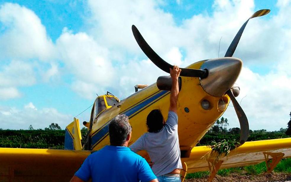 Avião teve avarias na fuselagem após o pouso de emergência na Bahia (Foto: Site Bahia Dia a Dia)