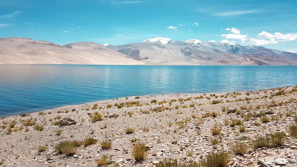 Lago Kyagar Tso, em Ladakh, na Índia (Foto: Rafael Miotto / G1)