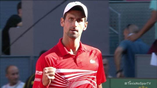 Os pontos finais de Djokovic 2 x 0 Thiem pelo Masters 1000 de Madri