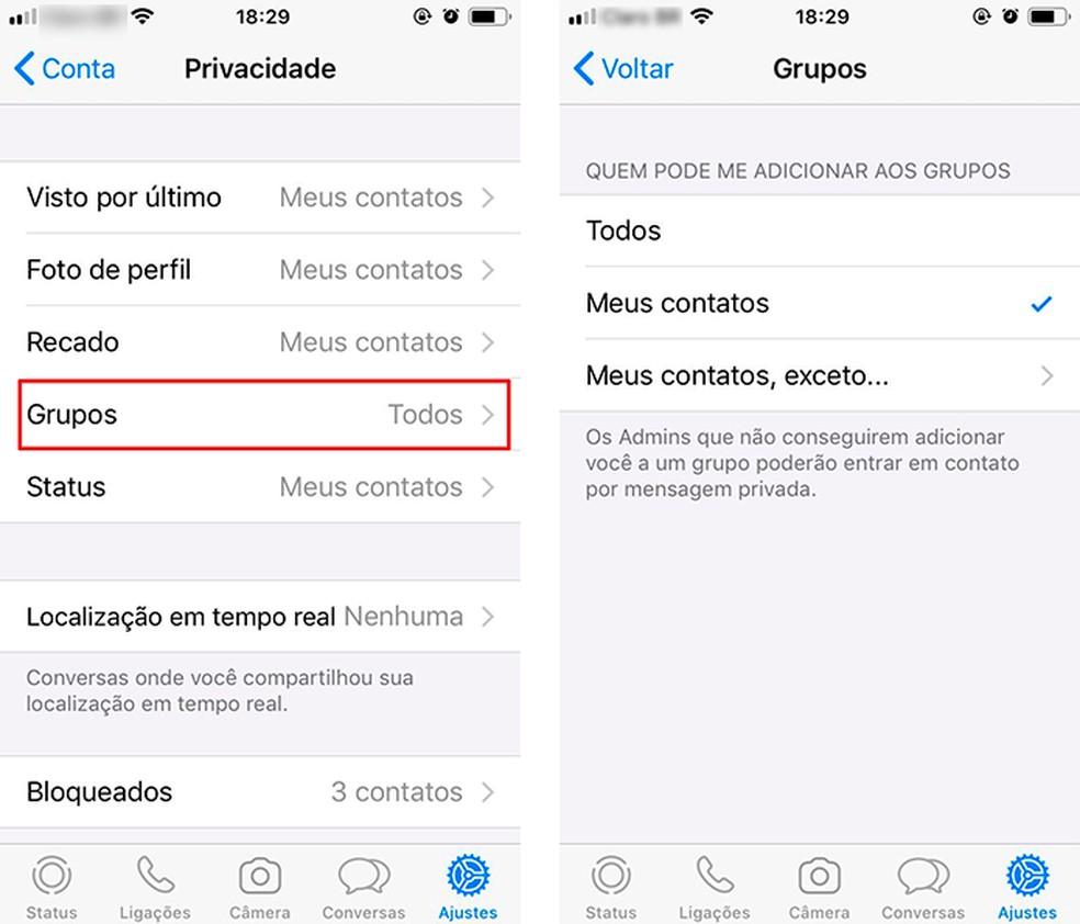 Selecionar quem pode te adicionar em grupos aumenta a privacidade no WhatsApp — Foto: Reprodução/Luana Antunes