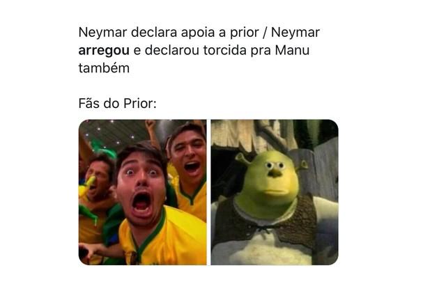 Neymar declarou torcida por Felipe Prior e depois resolveu também defender a permanência de Manu na casa. A expressão 'arregou' chegou aos trending topics do Brasil no Twitter nesta segunda, 30 (Foto: Reprodução)