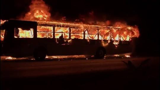 Ônibus pega fogo e fica destruído na PE-15; veja vídeo