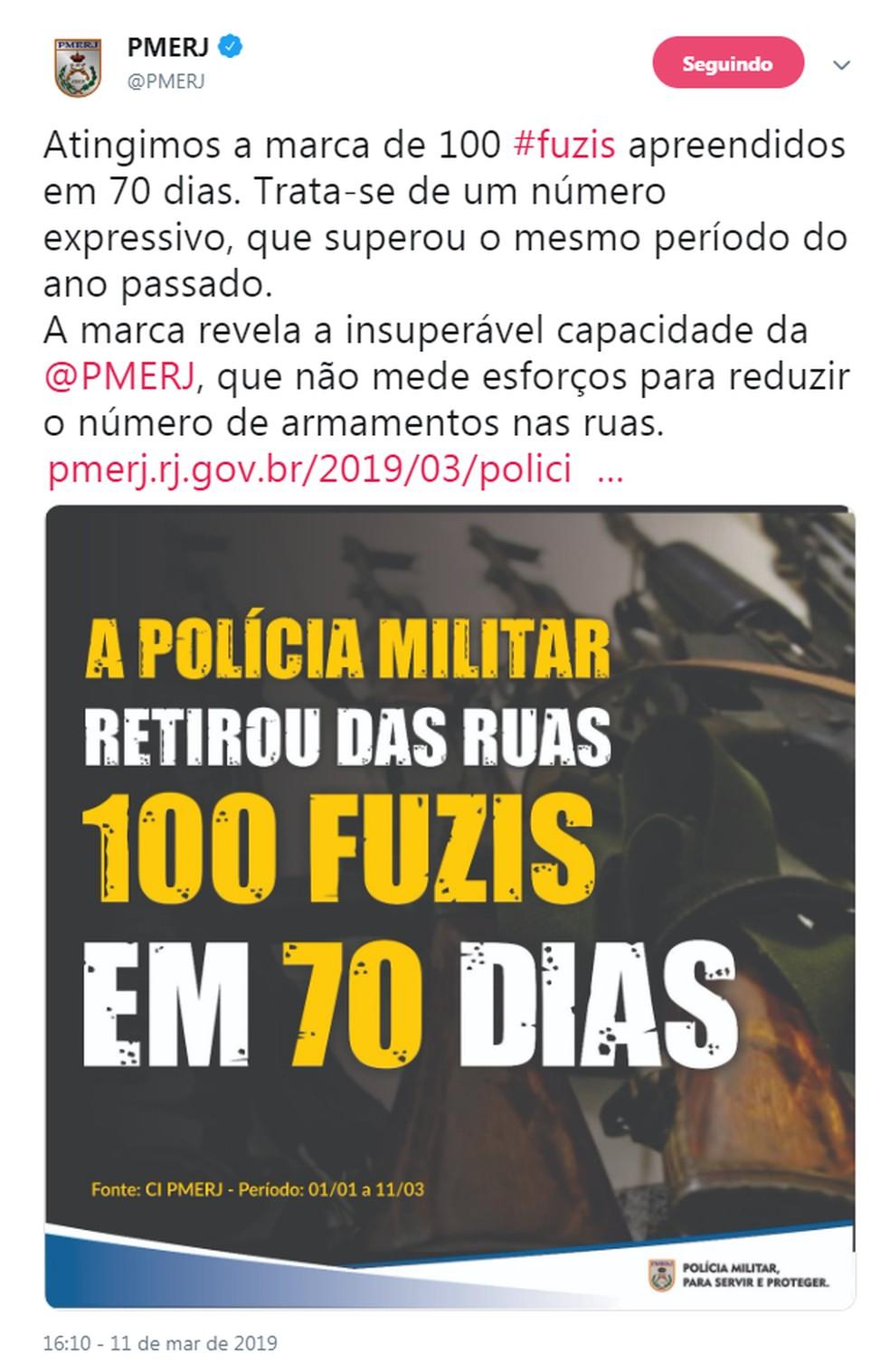 Corporação anuncia 100 fuzis apreendidos em 70 dias anunciada pelo Twitter — Foto: Reprodução/Redes Sociais
