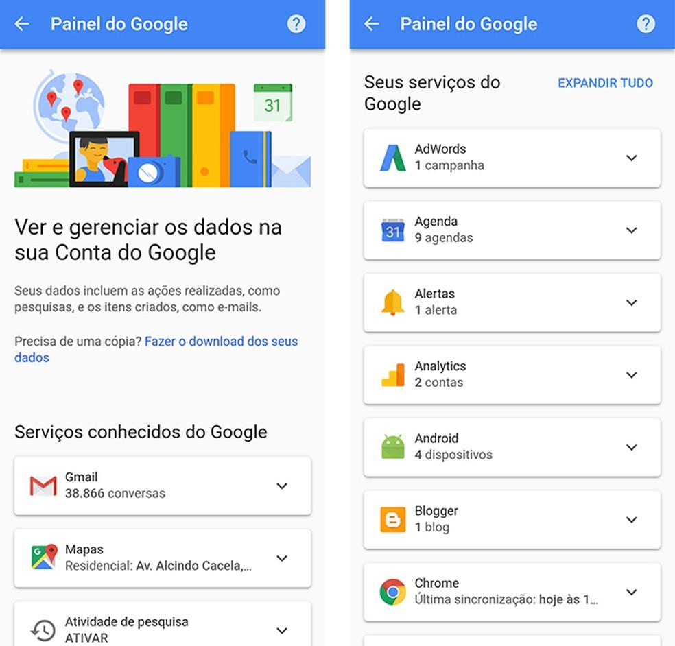 Google torna mais simples a visualização de produtos ativos pelo celular (Foto: Reprodução/Paulo Alves)