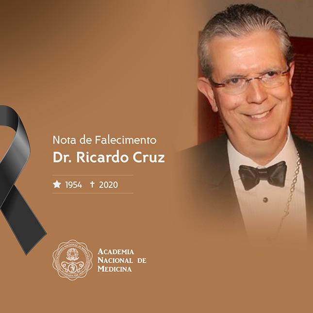 O cirurgião Ricardo Cruz, morto por Covid aos 66 anos, em nota de falecimento assinada pelo presidente da Academia Nacional de Medicina, Rubens Belford Jr.