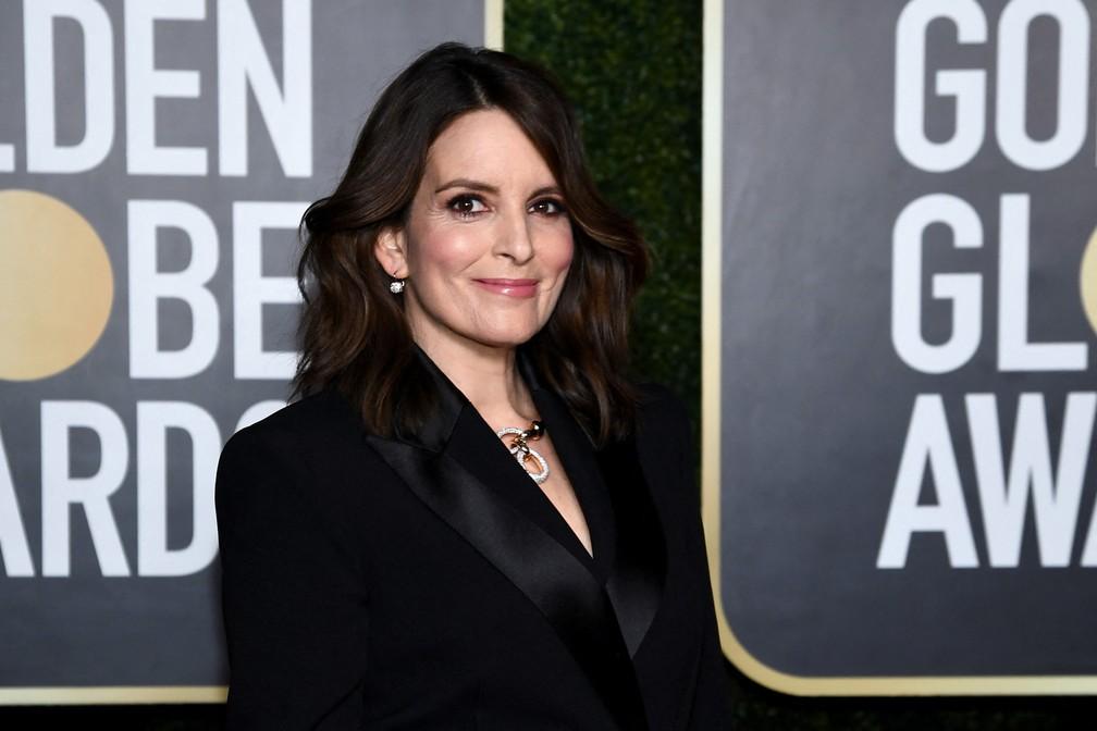 Tina Fey, uma das mestres de cerimônias do Globo de Ouro 2021, vai fazer a transmissão de Nova York — Foto: Dimitrios Kambouris / Getty Images via AFP