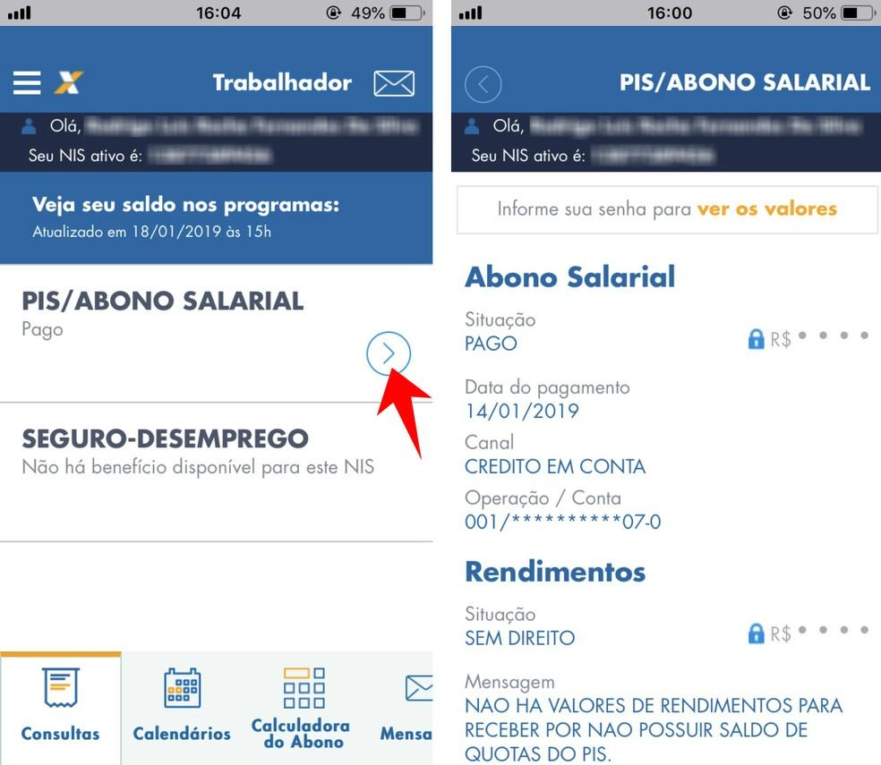 Veja saldo do PIS e data de pagamento do benefício pelo app Caixa Trabalhador — Foto: Reprodução/Rodrigo Fernandes