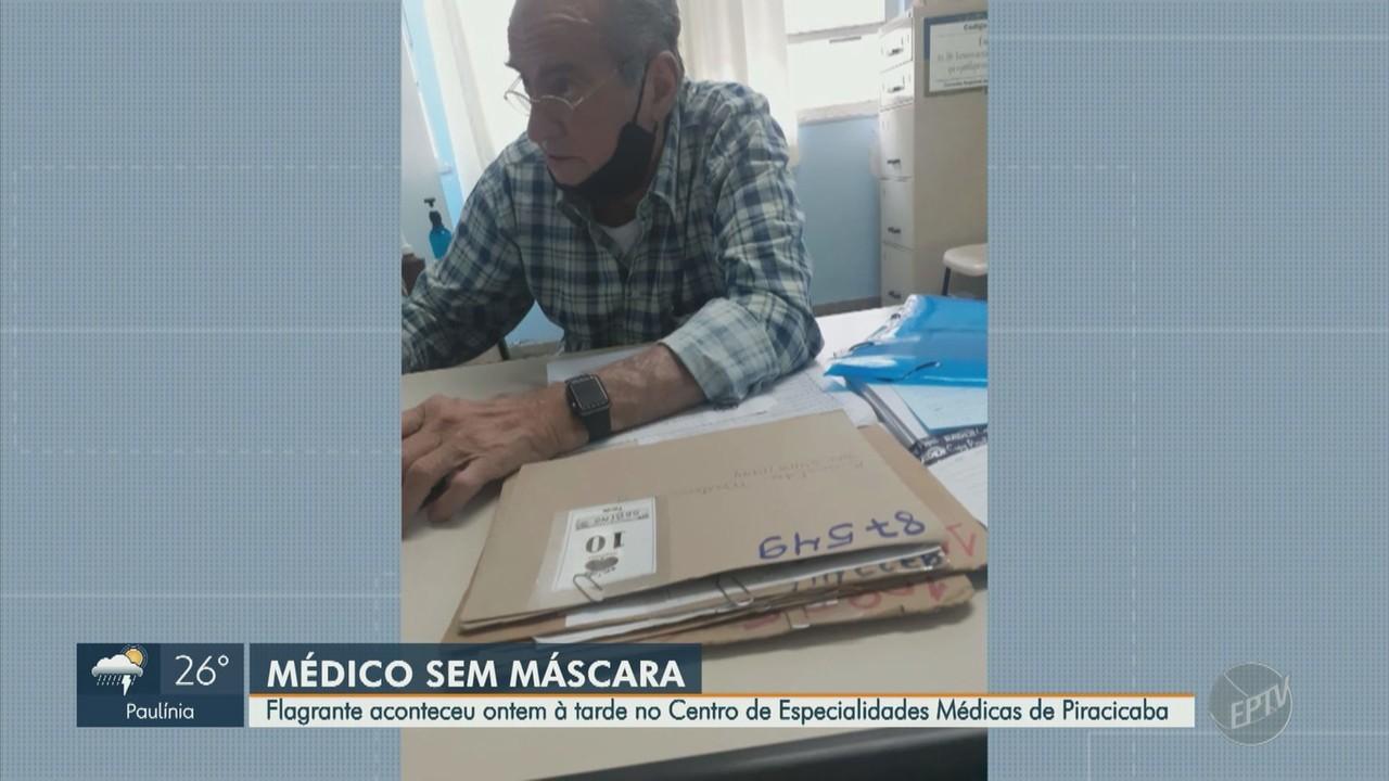 Veja vídeo em que médico é flagrado com máscara no queixo em Piracicaba
