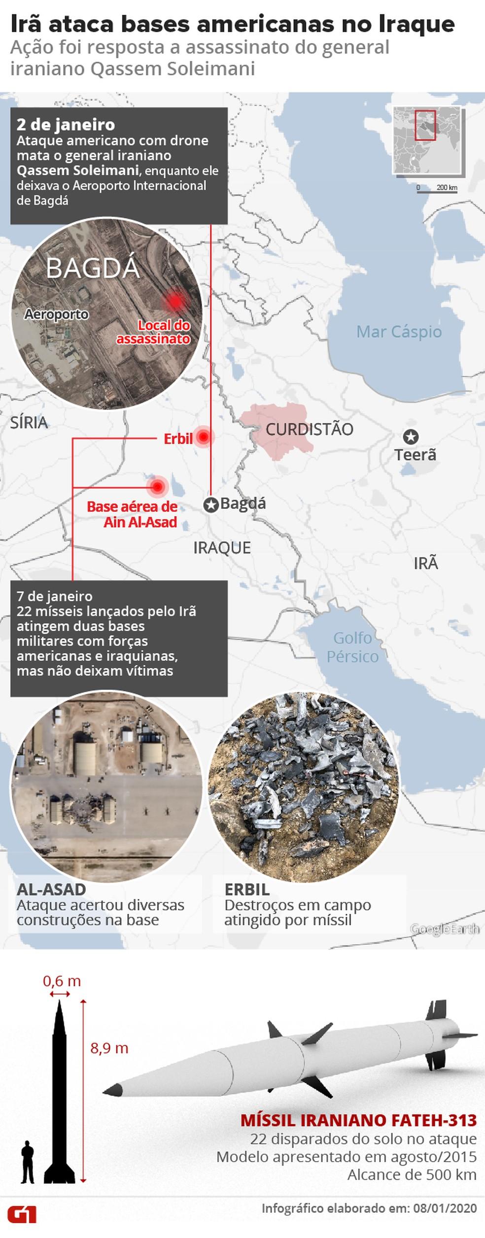 Ataque a bases no Iraque — Foto: Amanda Paes e Roberta Jaworski/G1