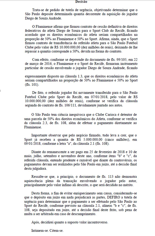 Decisão da Justiça em caso Diego Souza (Foto: Reprodução)