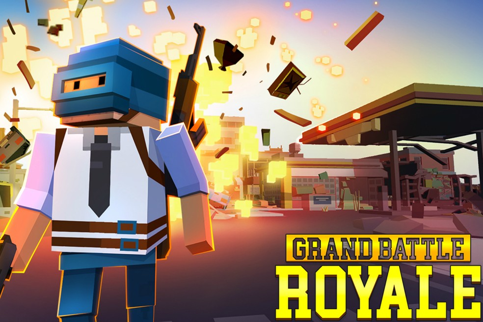 Grand Battle Royale combina o visual de Minecraft com a ação dos jogos Battle Royale — Foto: Divulgação/GameSpire