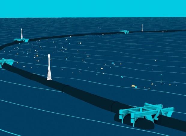 Desenho e animação do protótipo do projeto The Ocean Cleanup (Foto: The Ocean Cleanup/Divulgação)
