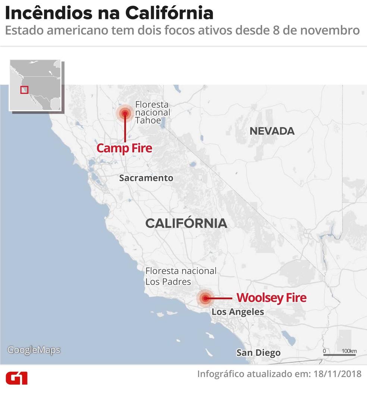 Mapa mostra focos de incêndios ativos na Califórnia — Foto: Arte G1