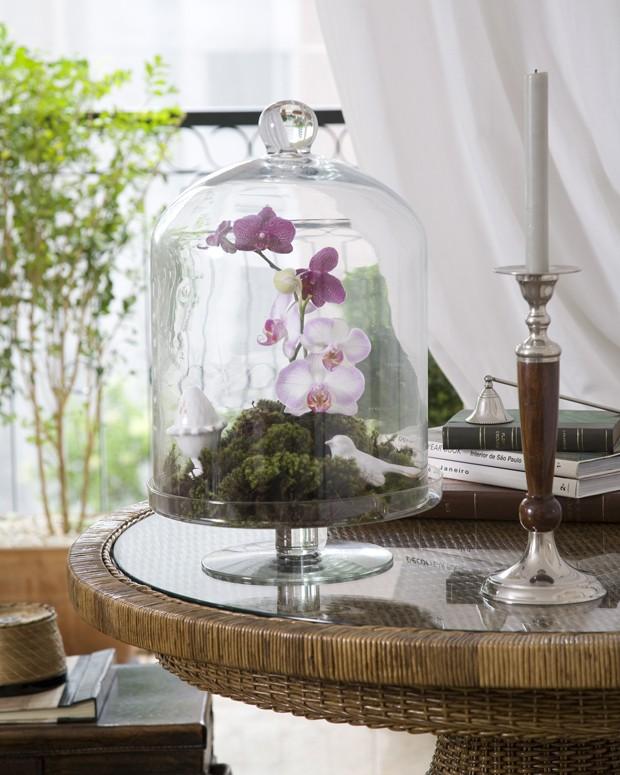 O arranjo com orquídeas e musgos, da Bothanica Paulista, aparece dentro da campânula de vidro  (Foto: Evelyn Muller/Editora Globo)