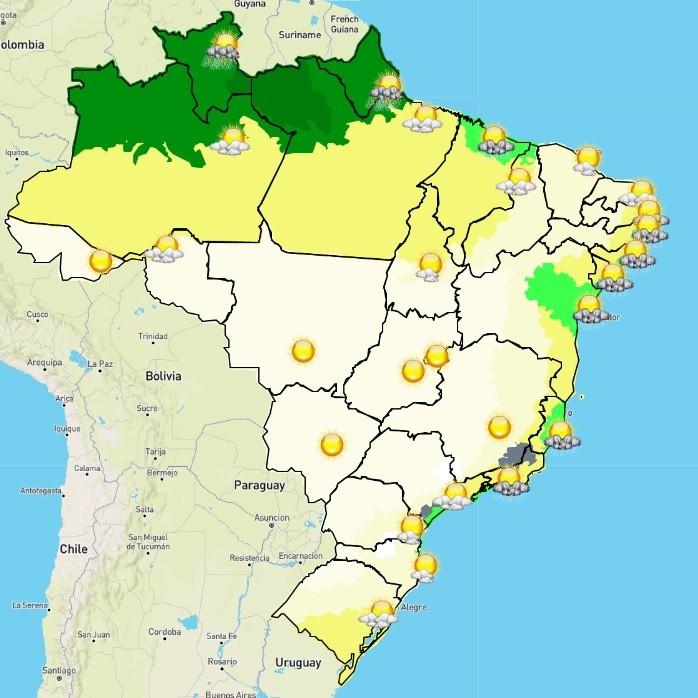 Mapa do Inmet com previsão do tempo para a manhã desta terça-feira (6/7) no Brasil (Foto: Inmet/Reprodução)