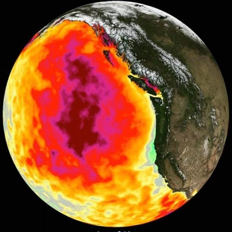 Em 2014, satélites registraram um aquecimento fora do comum no oceano pacífico, perto da costa oeste dos EUA — Foto: Getty Images/BBC