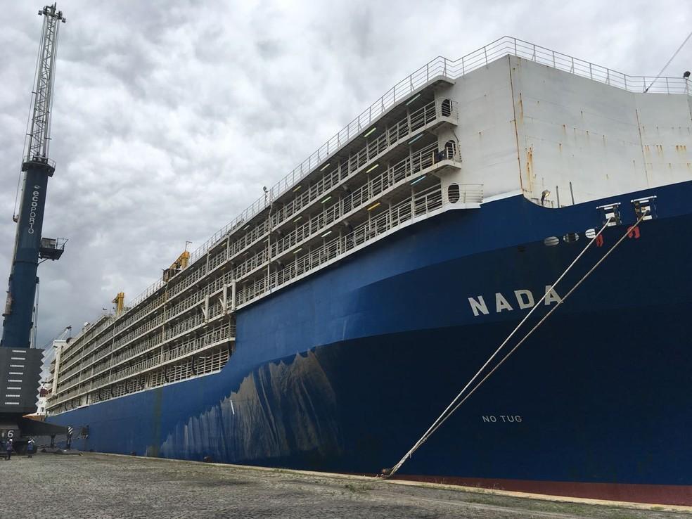 Embarcação está atracada no Porto de Santos, no litoral de São Paulo (Foto: Renan Fiuza/G1)