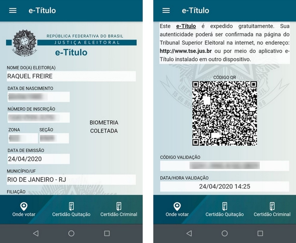 e-Título, app para Android e iOS, funciona como 2ª via do título de eleitor — Foto: Reprodução/Raquel Freire