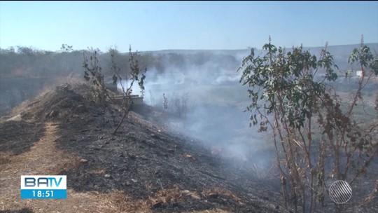 Fogo volta a se propagar em área de seis hectares atingida por incêndio em Barreiras; combate dura cerca de 48h