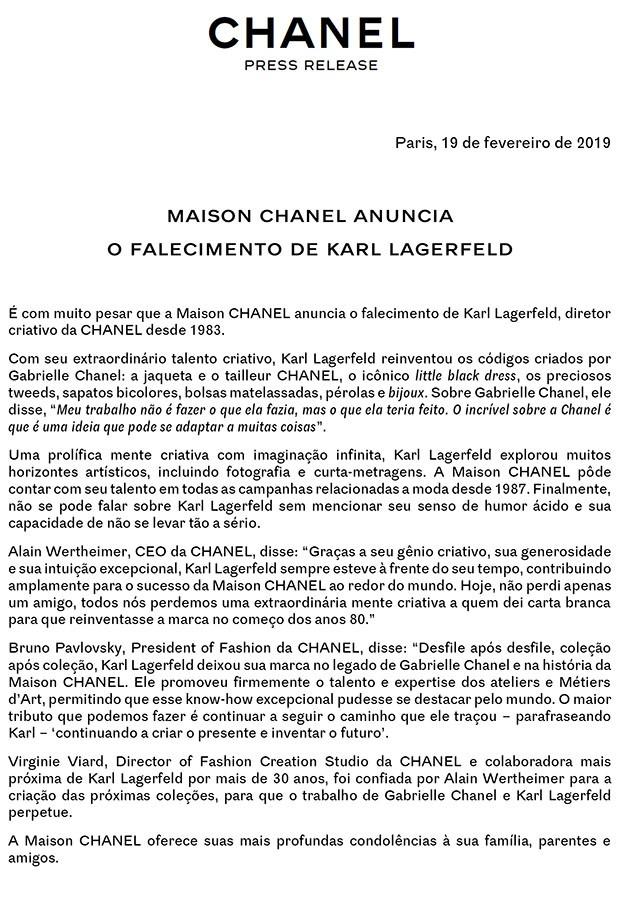 Maison Chanel anuncia o falecimento de Karl Lagerfeld (Foto: Divulgação)