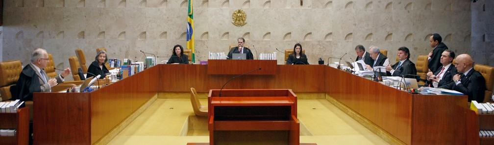 Ministros do STF no plenário do tribunal durante a sessão desta quinta-feira (29) — Foto: Rosinei Coutinho/SCO/STF