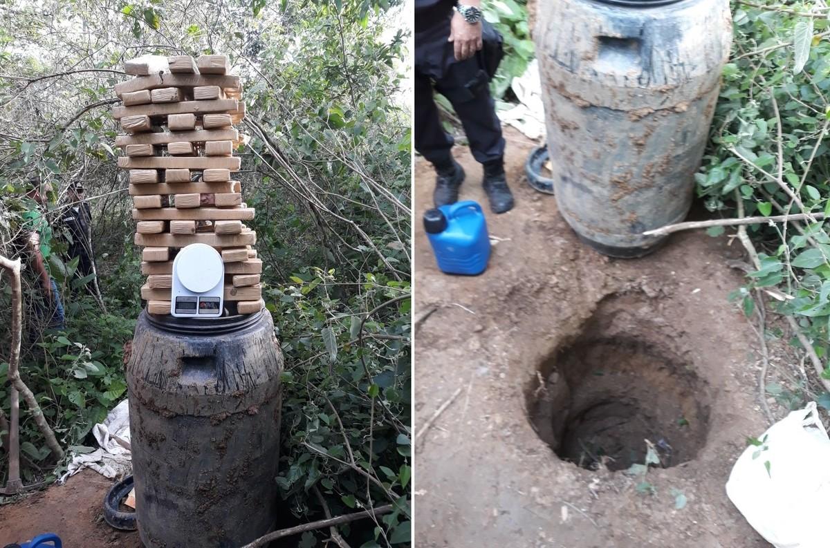 Polícia encontra 55 Kg de maconha enterrada em localidade entre Itaperuna e Natividade, no RJ