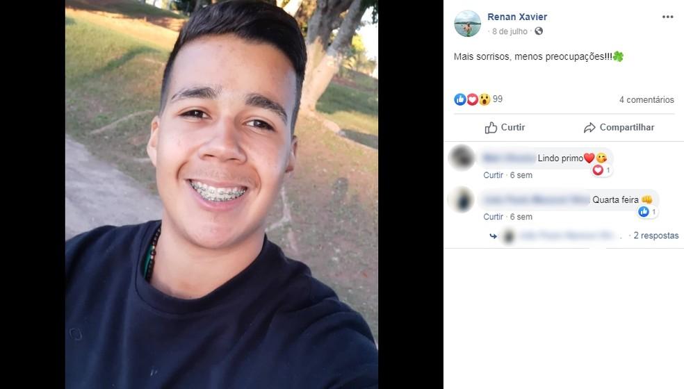 Renan Xavier dos Santos, de 18 anos, não resistiu aos ferimentos após acidente em Paraguaçu Paulista (SP) — Foto: Facebook/Reprodução