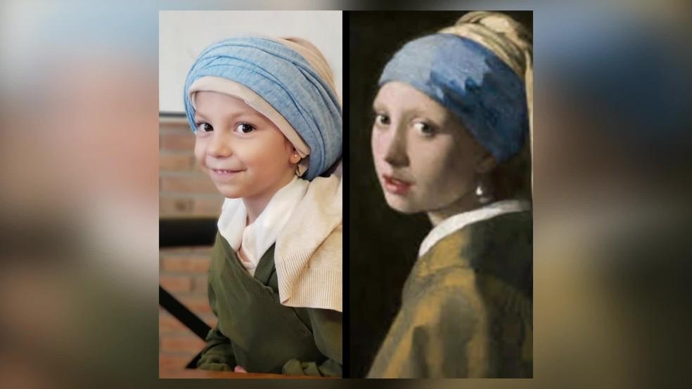 'Moça com Brinco de Pérola', de Johannes Vermeer, foi recriada por estudante de escola do Recife — Foto: Reprodução/TV Globo