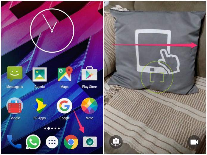 Abra a câmera do Android e arraste com o dedo para a direita para abrir o menu (Foto: Reprodução/Lucas Mendes)