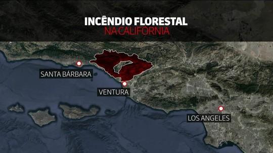 Ventos alimentam terceiro maior incêndio da história da Califórnia