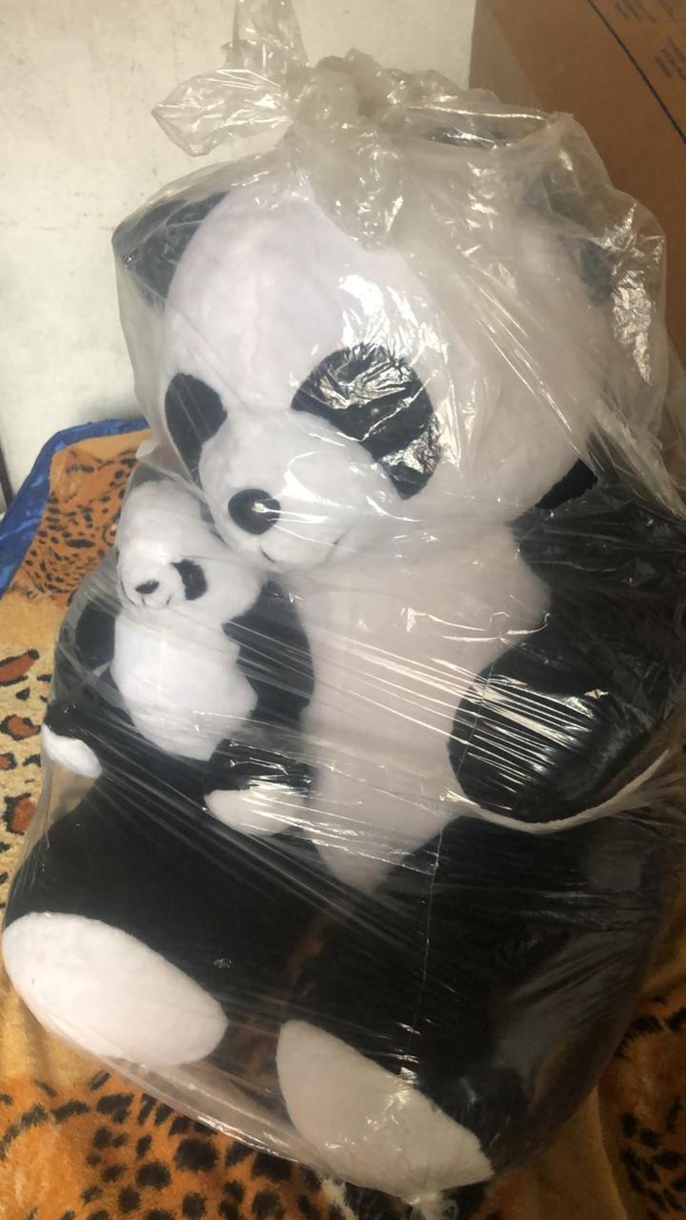 Urso usado como isca, segundo a polícia, para convencer a menina a ir à casa do suspeito — Foto: Reprodução/PCERJ